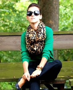Leopard print scarf and emerald green cardi - WANT