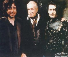 Tim Burton, Vincent Price and Johnny Depp on the set of Edward Scissorhands.