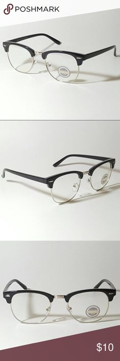 7d153a0b8d4 Black Silver Browline Clear Lens Glasses Boutique