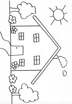 Simple House Drawing, House Drawing For Kids, Drawing Lessons For Kids, Easy Drawings For Kids, Basic Drawing, Art Drawings Sketches Simple, Colorful Drawings, Art For Kids, Animal Coloring Pages