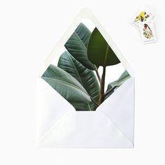 Banana Leaf Palm Envelope Liner, DIY Printable Destination Tropical Wedding Invitations