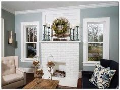 Here are 9 Fixer Upper fireplace mantel decor ideas you can create on a budget. Fireplace mantel decor is always such a great way to spruce up your home quickly! Craftsman Living Rooms, Fixer Upper Living Room, Living Room White, Living Room Colors, Living Room Decor, Dining Room, Small Living, Brick Fireplace Wall, Candles In Fireplace