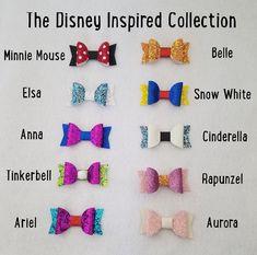 Disney inspirado a arco colección - Disney-chicas arcos-niño bebé arcos arcos - Disney inspirado - Headbands & bows - Princess Hair Bows, Girl Hair Bows, Girls Bows, Disney Hair Bows, Disneyland, Hair Bow Tutorial, Flower Tutorial, Bow Template, Felt Bows