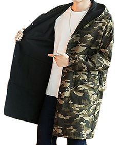 Spirio Mens Winter Hooded Quilted Faux Fur Camo Print Warm Down Jacket Coat