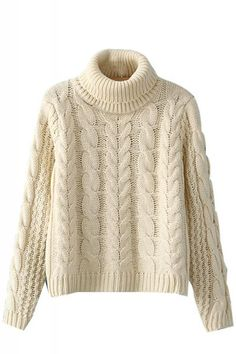 Beige Cable Knit Turtle Neck Long Sleeve Pullover Sweater