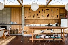 living kitchen dining L-shaped beach house interior