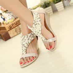 Golden Piscine Mouth Wedges Beads Zipper Fashion Sandals