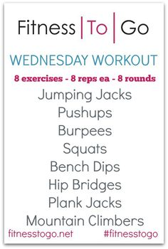 Wednesday Workout Crazy 8's. 8 exercises, 8 reps, 8 circuits! Go