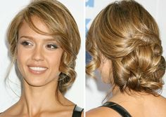 Jessica Alba - Really nice hair style - big side bun with a few curles in the front