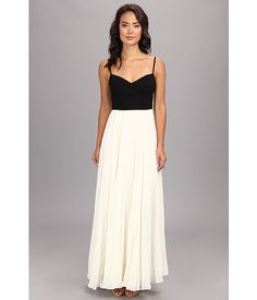 Laundry by Shelli Segal Cross Bodice Pleated Chiffon Gown