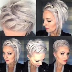 10 Beautiful modern short hairstyles for women - Kurze Frisuren - Hairdos Ideas Braids For Short Hair, Short Hair Cuts, Short Hair Styles, Braid Hair, Braiding Bangs, Back Of Short Hair, Styling Short Hair Bob, Top Braid, Straight Hair