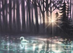 https://montonenheli.myportfolio.com  #lake #swan #illustration #drawing #painting #digitalart #digitalpainting #art #digital #photoshop #landscape #sun #colourful #forest #dreamy
