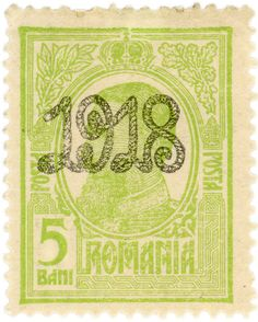 Romania postage stamp: King Carol I c. 1918.  Love this. The Year before Daddy was born.