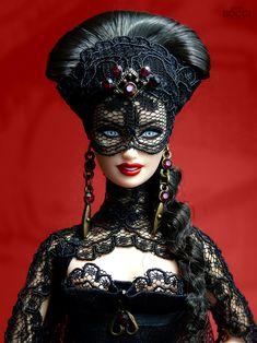 Erzsébet Báthory Doll by David Bocci. Barbie Halloween, Barbie Gowns, Barbie Clothes, Fashion Royalty Dolls, Fashion Dolls, Ooak Dolls, Art Dolls, Glamour Dolls, Beautiful Barbie Dolls
