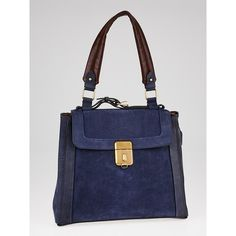 Pre-owned Chloe Blue Brushed Leather Darla Shoulder Bag ($445) ❤ liked on Polyvore featuring bags, handbags, shoulder bags, real leather purses, leather shoulder bag, chloe shoulder bag, genuine leather handbags and retro purses