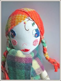 Gorgeous doll by Jenni Harley // Like the use of orange check fabric for the hair :)