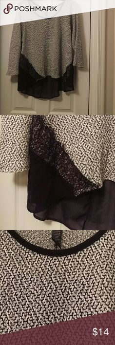 Black & White Sweater Black & White sweater with lace trim and sheer back by Style & Co. Size 1X Style & Co Sweaters Crew & Scoop Necks