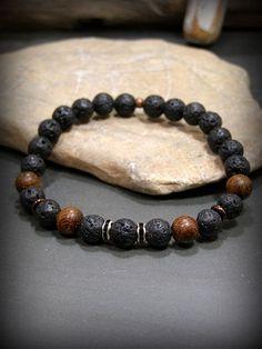 Mens Beaded Bracelet Black Bracelet Lava Rock by StoneWearDesigns