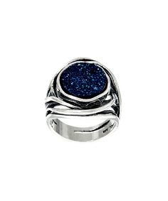 Love this Blue Sterling Silver Bold Drusy Ring by Or Paz on #zulily! #zulilyfinds