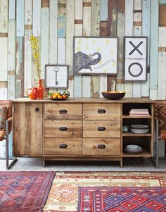 rustic plank wall and sideboard.