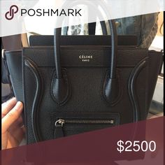 *BRAND NEW* Celine black nano Brand new* with tags. NEVER WORN. Black Drummed (pebbled) Leather Silver hardware. Comes with everything including RECEIPT! NO TRADES. PP only. SERIOUS INQUIRES ONLY!!!! Luxurylunchbox@ hotmail dot com Celine Bags Crossbody Bags