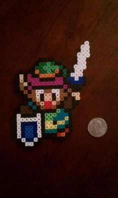 Perler Beads; Link as he appeared in The Legend of Zelda: A Link to the Past.