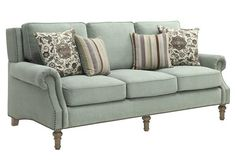 Rosenberg Collection 505221 Light Sage Micro-Velvet Fabric Sofa with Nailhead Trim and Accent with Throw Pillows by Coaster Furniture Parks Furniture, Coaster Furniture, Sofa Furniture, Furniture Deals, Furniture Design, Fine Furniture, New Living Room, Living Room Sets, Living Room Chairs