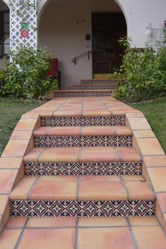"12"" hand-crafted saltillo tiles with custom Malibu Tile"