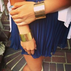 Gold Metal Plate Cuffs are finally back✨ looks cute with one on each wrist. Found on www.gold-soul.com (Official site is under construction) #goldsoulista #instafashion #ootd