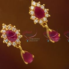 Indian Earrings, Ruby Earrings, Simple Earrings, Gemstone Earrings, Indian Jewelry, Gold Necklace, Gold Earrings Designs, Gold Jewellery Design, Men's Jewellery