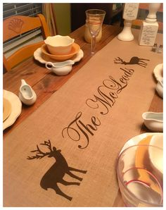 "Burlap Table Runner  12"", 14"" or 15"" wide with name & Deer - Monogram runner, Fall runner, cabin decor, home decor by CreativePlaces on Etsy"