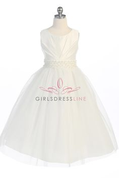 Ivory Satin Tulle Flower Girl Dress G3405-IV G3405-IV $49.95 on www.GirlsDressLine.Com