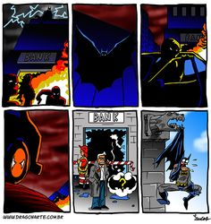 """Batman has been stuck on a gargoyle's mouth for 3 days, and hasn't fought a single criminal"" Funny Superhero Memes, Humor Batman, Marvel Funny, Funny Batman, Batman Vs Superman, Batman Comics, Dc Comics, Funny Cartoons, Funny Comics"