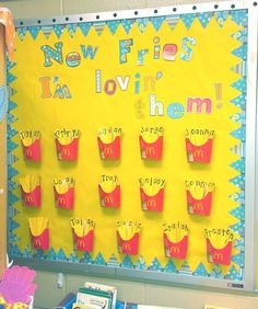 "students take the ""fries"" out of their containers to arrange the letters in their names. She used CTP's Dots on Turquoise pennant border and letters. Great classroom idea!"