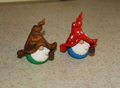 Set Of 2Whimsical Pipe Smoking Gnomes by jessnryder on Etsy, $20.00