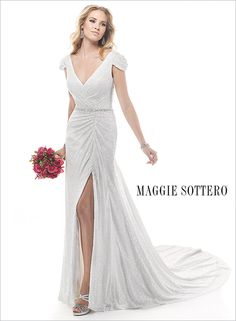 Full sequined wedding dress? Yes please! Meet Diaz, by Maggie Sottero, a sheath dress with cap-sleeves and a sparkling Swarovski crystal waistband.