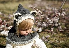 Raccoon Hooded Cowl Knitting Pattern....SO cute and comes in all sizes Newborn through Adult.