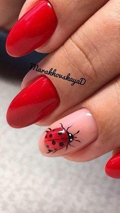 Love Nails, Red Nails, Swag Nails, Pretty Nails, Spring Nail Art, Nail Designs Spring, Nail Art Designs, Ladybug Nail Art, Nail Drawing