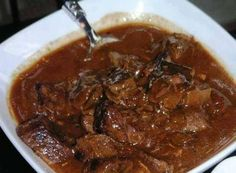 Ingredients : 2 lbs cubed beef stew meat 1 onion, chopped 1 package brown gravy mix cup soy sauce cup Worcestershire sauce 2 cups water 3 tablespoons vegetable oil 1 teaspoon garlic 1 teaspoon salt 1 teaspoon ground pepper 1 cup water Directions : In a Beef Tip Recipes, Beef Tips, Crockpot Recipes, Cooking Recipes, Quick Recipes, Cooking Beef, Skinny Recipes, Delicious Recipes, Cooking Oil