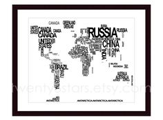 World map typography map canvas or art print choose any colors world map typography canvas or art print choose any colors typographic atlas art with country names country name world map art poster gumiabroncs Images