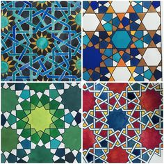 One pattern four ways. Any preference? I like the top right (which I've worked on since I last posted it) and the green one. Islamic Art Pattern, Arabic Pattern, Pattern Art, Pattern Design, Geometric Mandala, Geometric Designs, Geometric Patterns, Moroccan Art, Turkish Art