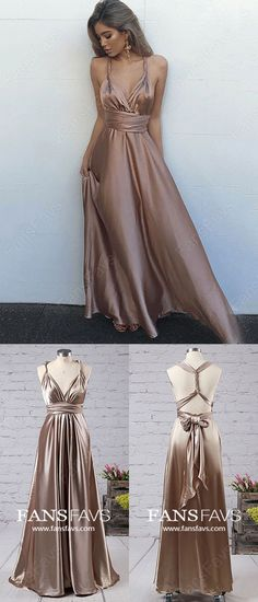 Long Prom Dresses,A-line Prom Dresses For Teenages,V-neck Prom Dresses Silk-like Satin,Ankle-length Prom Dresses with Ruffles