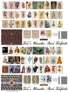"""My combined Free Mini Book Template with the 1"""", 1/2 size versions of the New mini costume books of Costume designs of C.Wilhelm and of Leon Bakst."""