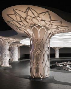 Kufra Multi-functional Hall by Daniela Colli Columns Decor, Interior Columns, Interior Exterior, Hall Interior Design, Futuristic Architecture, Interior Architecture, Ceiling Design, Wall Design, Shopping Mall Interior