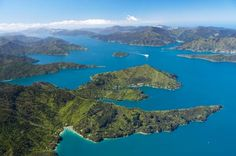 Lochmara Bay (bottom), Double Bay (right), Torea Bay (left) and Queen Charlotte Sound, Marlborough Sounds, South Island, New Zealand - aerial