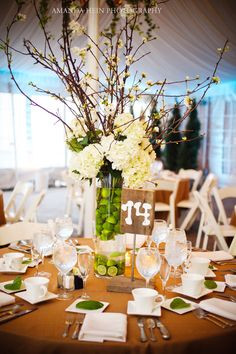 lime centerpiece with cherry blossoms & hydrangea