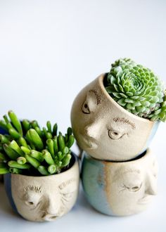 FACE ME Handmade clay planters Sculpted faces people by GR8ART4U