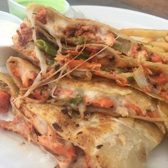 chicken shawarma cheesesteak or pizza or quesadilla ..  Al-Sham Quesadilla served with Fries White Sauce and Spicy Mint Sauce..