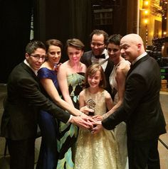 """On June 7, 'Fun Home,' based on Alison Bechdel's graphic memoir of the same name, took home the Tony for Best Musical at an awards ceremony at Radio City Music Hall. Pictured (l. to r.) Bechdel; Judy Kuhn; Emily Skeggs (""""middle Alison""""); Sidney Lucas (""""young Alison""""); 'Fun Home' musical director Sam Gold; Beth Malone (""""adult Alison""""); and Michael Cerveris. Photo: Houghton Mifflin Harcourt"""