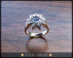 Sterling Silver 9 Star Baha'i Ring with Genuine Sapphire by 9StarJewelry #bahai #bahaijewelry #9starjewelry